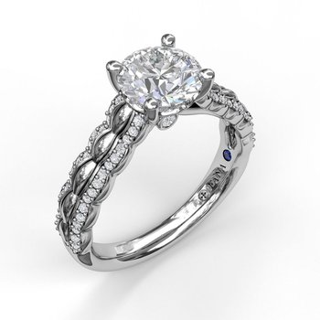 Round Cut Solitaire with Double Scalloped Band