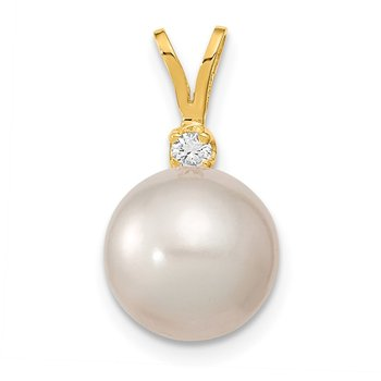 14k 9-10mm White Saltwater Culutured South Sea Pearl .05ct Diamond Pendant