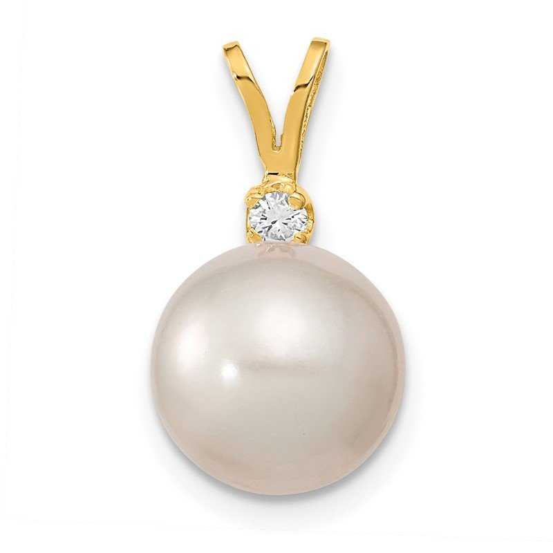 Quality Gold 14k 9-10mm White Saltwater Culutured South Sea Pearl .05ct Diamond Pendant