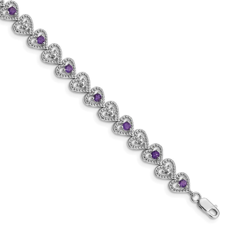 Quality Gold Sterling Silver Rhodium-plated Amethyst Diamond Bracelet