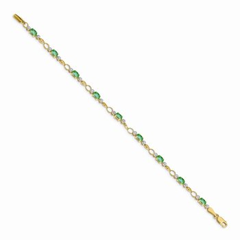 14k Open-Link Diamond/Emerald Bracelet