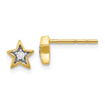 14k White Gold Diamond Star Post Earrings