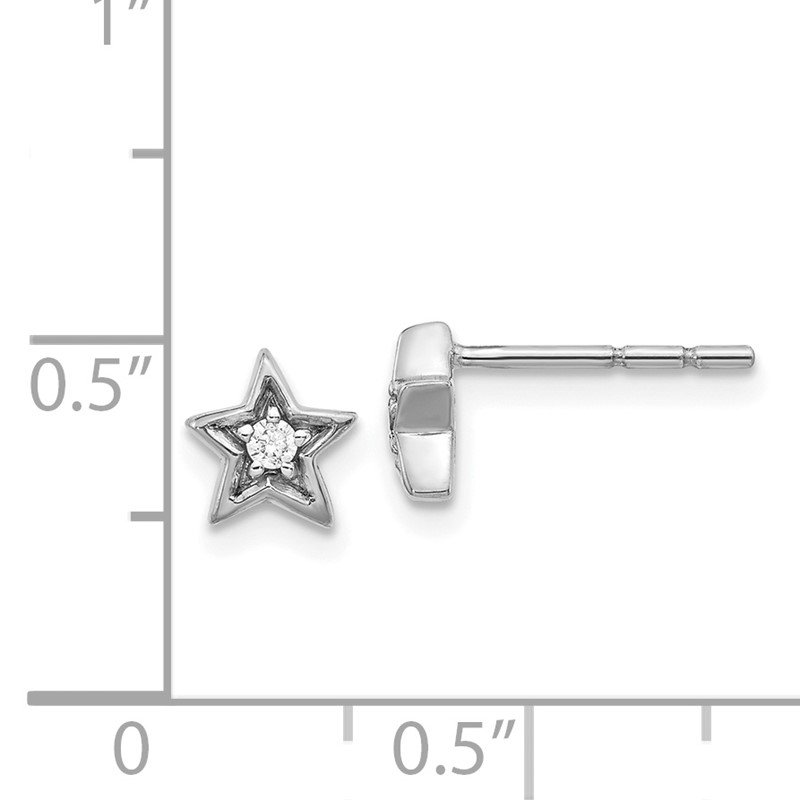 Quality Gold 14k White Gold Diamond Star Post Earrings
