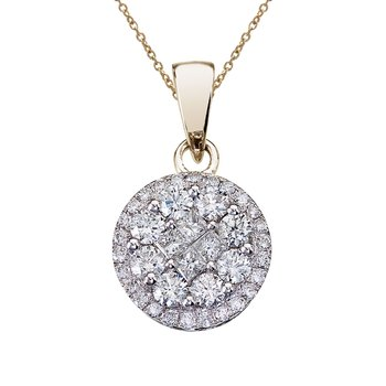 14K White Gold 1 Ct Diamond Clustaire Pendant
