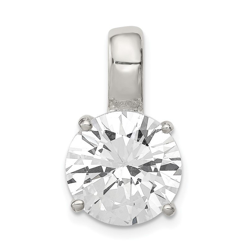 Quality Gold Sterling Silver Round CZ Pendant