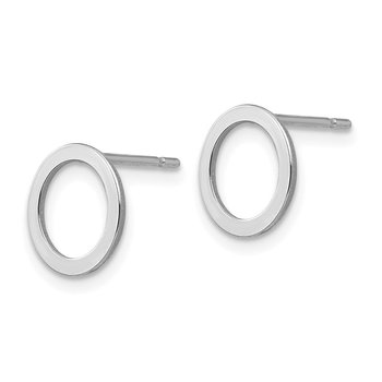 14k White Gold Open Circle Earrings