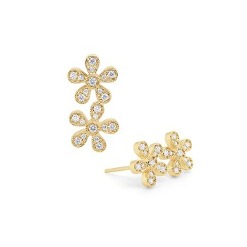 14k Gold and Diamond Double Flower Earrings