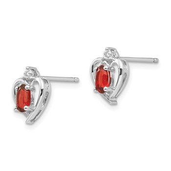 14k White Gold Garnet and Diamond Heart Post Earrings