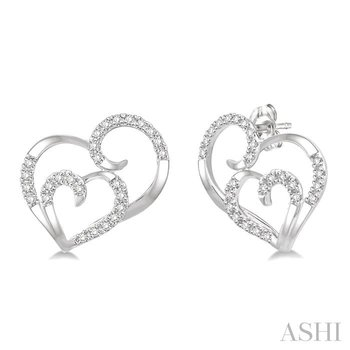 double heart shape diamond earrings