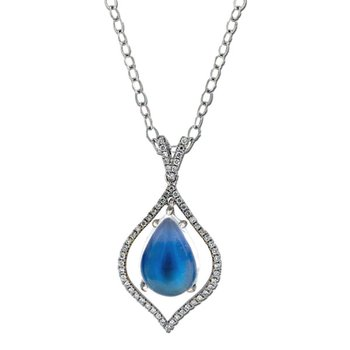 Blue Moonstone & Diamond Floating Pendant