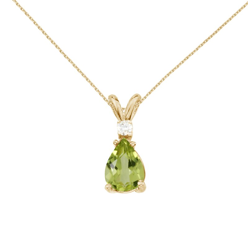 14k Yellow Gold Pear Shaped Peridot and Diamond Pendant