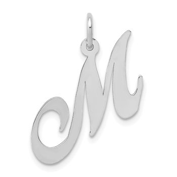 14K White Gold Medium Fancy Script Letter M Initial Charm