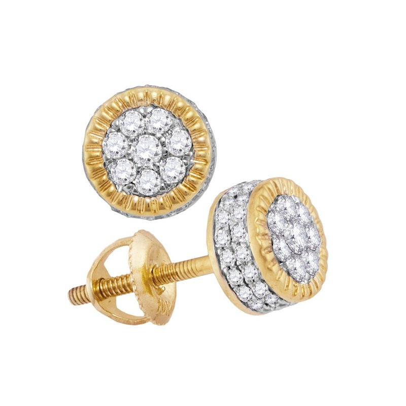 Kingdom Treasures 10kt Yellow Gold Mens Round Diamond Fluted Flower Cluster Stud Earrings 1/2 Cttw