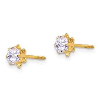 14k Madi K 4mm Synthetic (Jun) Screwback Earrings