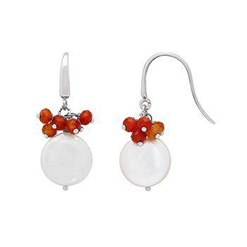 Honora Sterling Silver 13-14mm White Coin Freshwater Cultured Peal with Orange Chalcedonxy Cluster Earrings