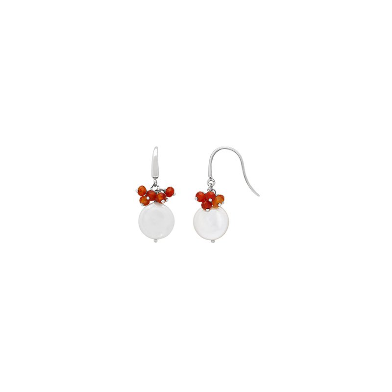 Honora Honora Sterling Silver 13-14mm White Coin Freshwater Cultured Peal with Orange Chalcedonxy Cluster Earrings