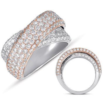 Rose & White Gold  Diamond Pave Ring