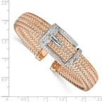 Leslie's Leslie's Sterling Silver Rose Gold-plated CZ Polished Woven Cuff Bangle
