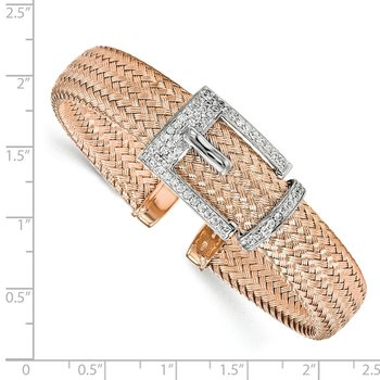 Leslie's Sterling Silver Rose Gold-plated CZ Polished Woven Cuff Bangle