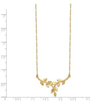 14K Polished Leaf Necklace