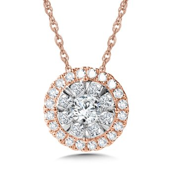 Duel-Tone Cluster Diamond Necklace