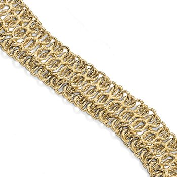 Leslie's 14k Gold Polished and Textured Bracelet