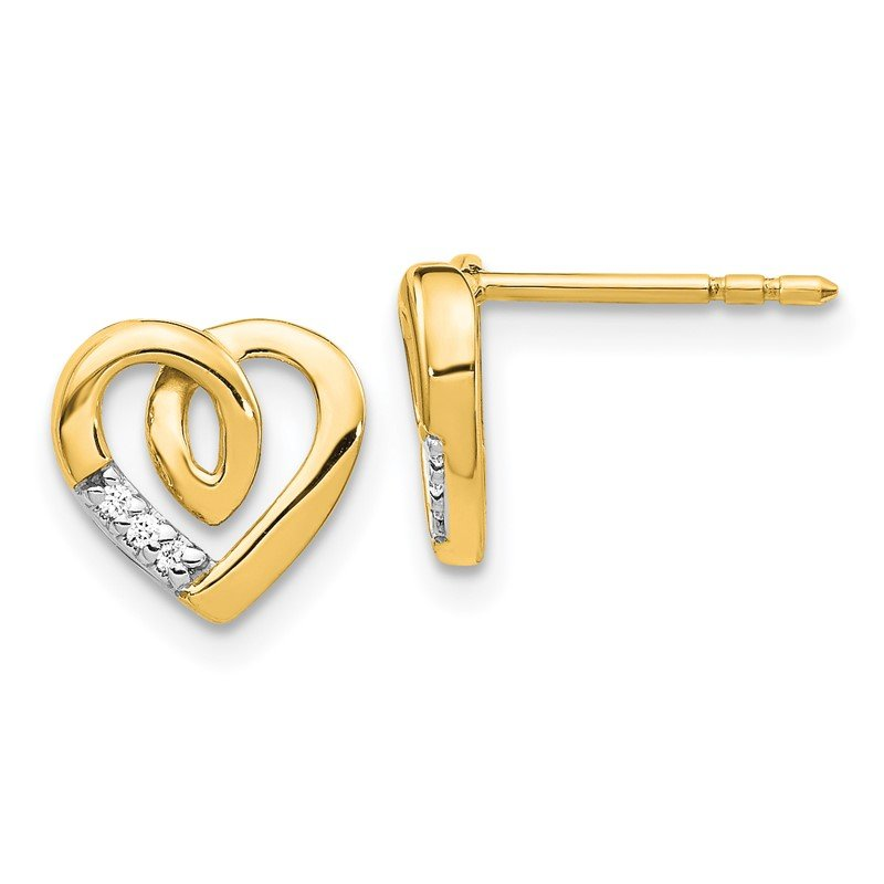 Quality Gold 14k White Gold Diamond Heart Post Earrings