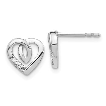 14k White Gold Diamond Heart Post Earrings
