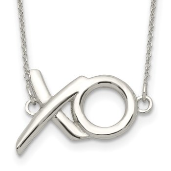 Sterling Silver Polished XO w/2in. Ext. Necklace