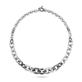 Classic Chain Graduated Knife Edge Link Necklace, Silver