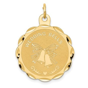 14K WEDDING BELLS Engraveable Disc Charm