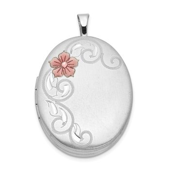 Sterling Silver Rhodium-plated 26mm Enameled Flower and Scroll Oval Locket