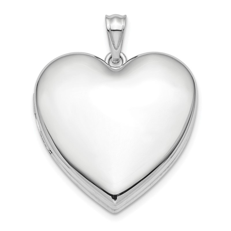 Quality Gold Sterling Silver Rhodium-plated 24mm Plain Ash Holder Heart Locket