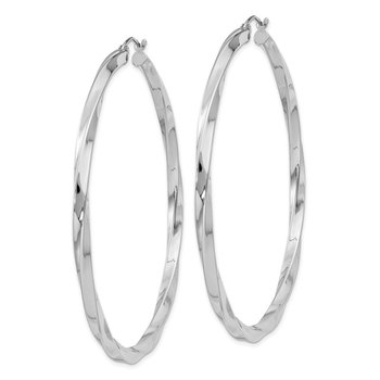 Sterling Silver Rhodium-plated 3x60mmTwisted Hoop Earrings