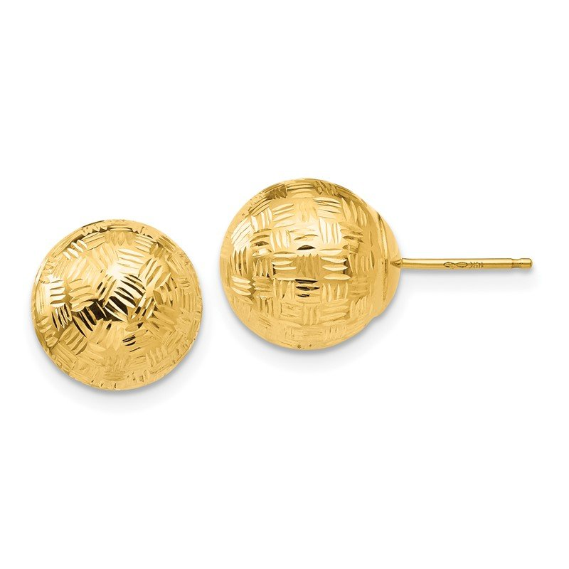 Quality Gold 14K Gold Round 10mm Groove Diamond Cut Ball Post Earrings
