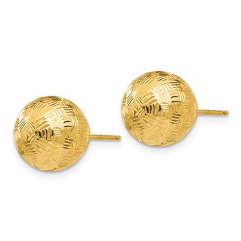 14K Gold Round 10mm Groove Diamond Cut Ball Post Earrings