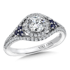 Diamond and Blue Sapphire Engagement ring mounting in 14K White/Rose Gold (.43 ct. tw.)
