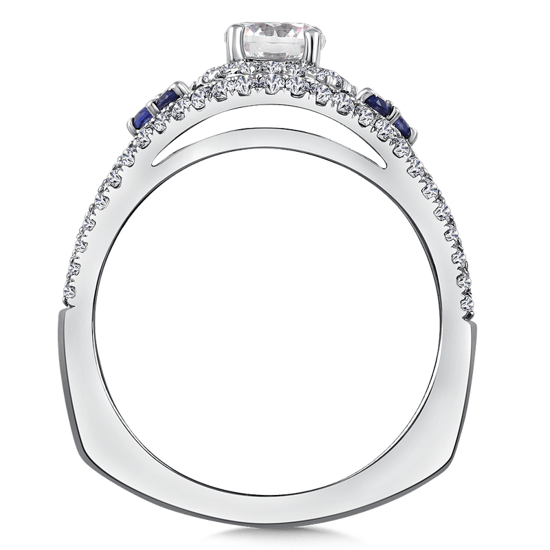 Valina Bridals Diamond and Blue Sapphire Engagement ring mounting in 14K White/Rose Gold (.43 ct. tw.)