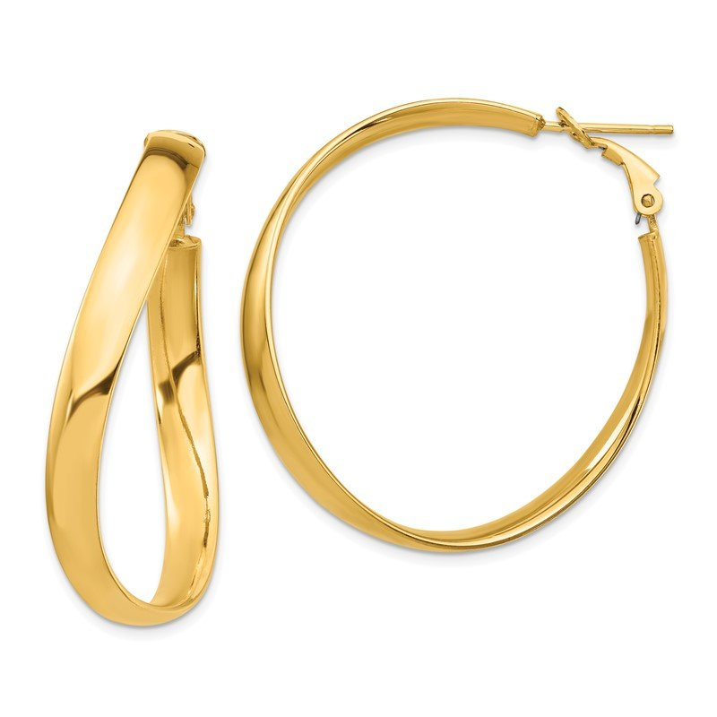Quality Gold 14k High Polished 5mm Wavy Omega Back Hoop Earrings