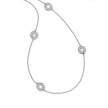 Leslie's Sterling Silver Matte D/C 5-station Necklace