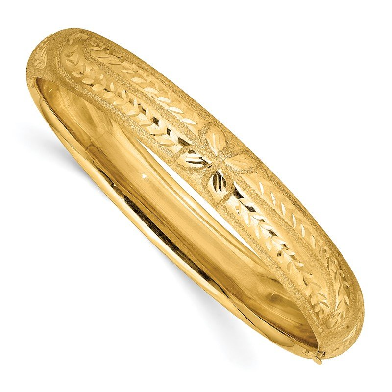 Quality Gold 14k 7/16 Florentine Engraved Hinged Bangle Bracelet