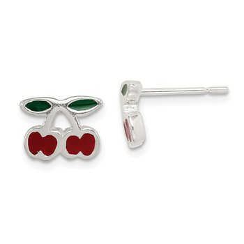 Sterling Silver Enamel Cherries Post Earrings