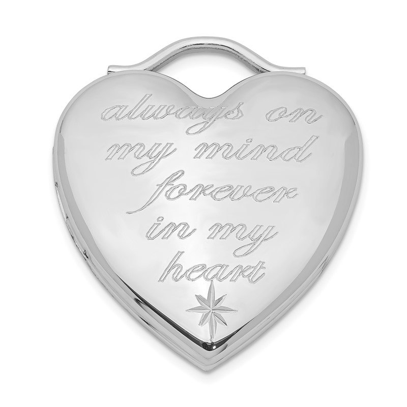Lester Martin Online Collection Sterling Silver Rhodium-plated Always On My Mind Forever In My Heart Locket