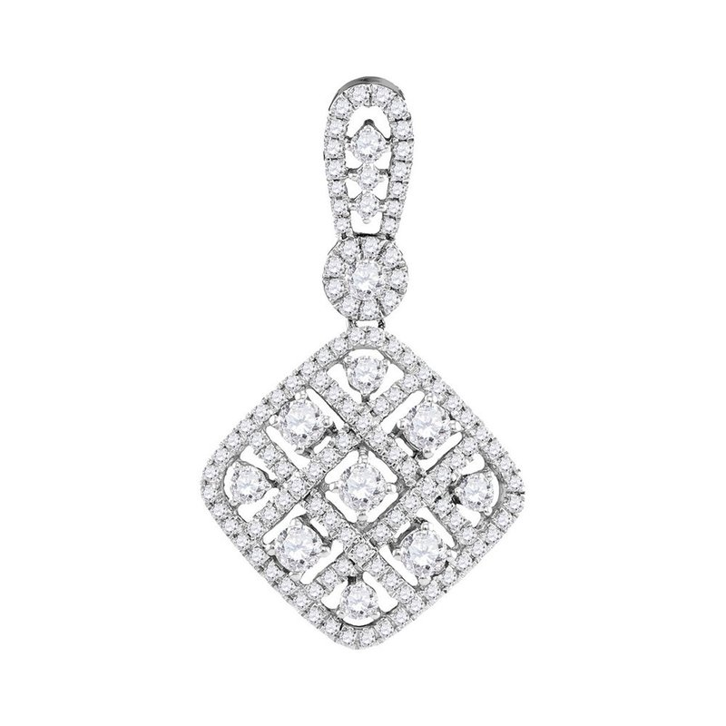Kingdom Treasures 10kt White Gold Womens Round Diamond Square Pendant 1.00 Cttw