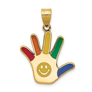 14k Enameled Autism w/Smiley Face Handprint Pendant
