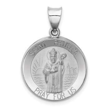 14k White Gold Polished and Satin St Patrick Medal Hollow Pendant