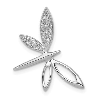 14k White Gold Diamond Dragonfly Chain Slide