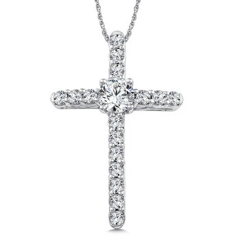 Diamond Cross Pendant in 14K White Gold (0.27 ct. tw.)