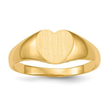 14k 6.5x8.0mm Closed Back Heart Signet Ring