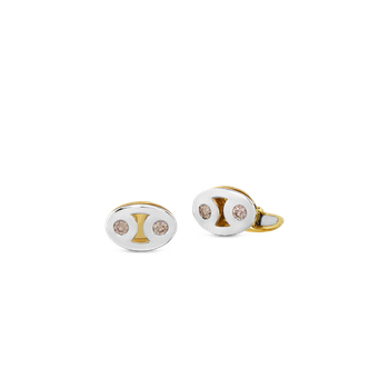 18Kt Gold Marina Cufflinks With Brown Diamonds